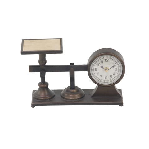 Copper Grove Chatfield Traditional Iron and Wood Vintage Scale Clock