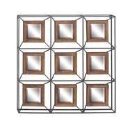Contemporary Iron and Fir Wood Grid Wall Mirror - Blue