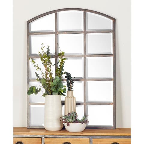 Modern Gray Arched Paneled Wall Mirror by Studio 350 - Grey