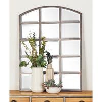 40 X 30 inch Modern Wood and Iron Paneled Glass Wall Mirror - Grey