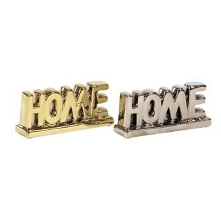 Set of 2 Modern Porcelain Home Table Signs