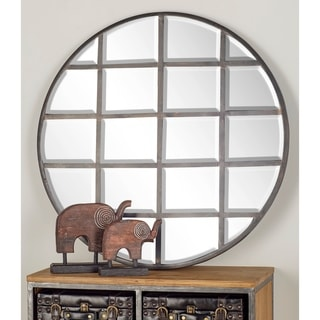 """Large Industrial Round Wall Mirror with Metal Grid Overlay 36"""" x 36"""" - Bronze"""