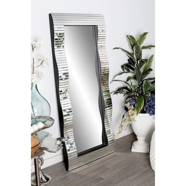 Modern 65 x 28 Inch Horizontal Slatted Wall Mirror by Studio 350 - Silver