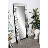 Modern Wood and Glass Horizontal Slatted Rectangular Wall Mirror - Silver