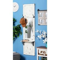 Traditional Beige Wood and Iron Rectangular Wall Mirror with Shelf - White