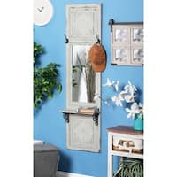 Studio 350 White Wood/Iron Rectangular Shelf Wall Mirror