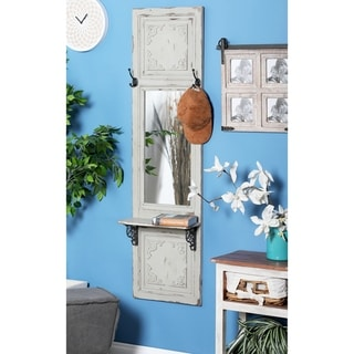 Traditional 59 x 16 Inch White Wall Mirror with Shelf by Studio 350