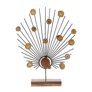 Contemporary Iron and Teak Wood Decorative Burst Sculpture