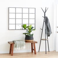 Modern Wood and Iron Rectangular Paneled Glass Wall Mirror - Grey