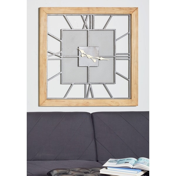 Contemporary 39 x 39 Inch Square Gray Wooden Wall Clock by Studio 350