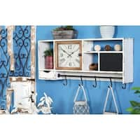Rustic Wall Clock with Multi-Purpose Shelves and Hooks