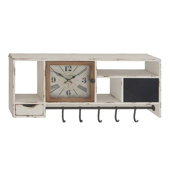 Rustic Wall Clock With Multi Purpose Shelves And Hooks