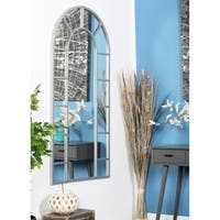Contemporary Wood and Iron Arched White Wall Mirror - Grey