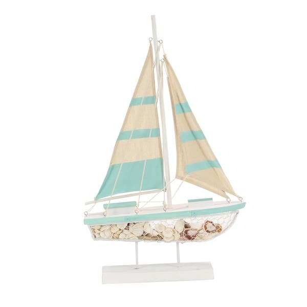 Coastal Green And White Wooden Sailboat Decor Free