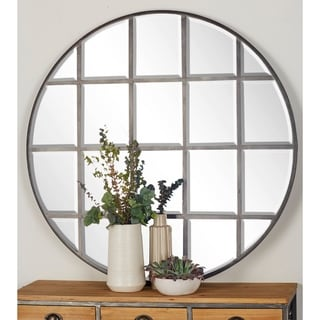 Modern 48 Inch Round Gray Paneled Wall Mirror by Studio 350 - Silver