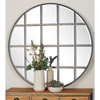 Modern 48 Inch Iron and Wood Round Paneled Wall Mirror by Studio 350 - Silver