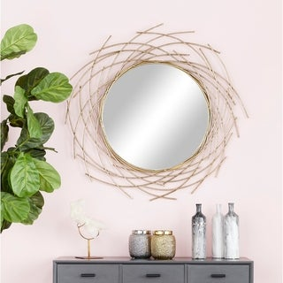 "Glam Style Decorative Round Metal Wall Mirror with Twig Silhouette Frame 39"" x 39"" - Gold"