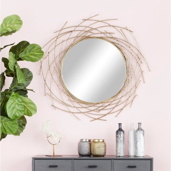 """Glam Style Decorative Round Metal Wall Mirror with Twig Silhouette Frame 39"""" x 39"""" - Gold"""