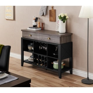 Furniture of America Gabbi Dark Grey/Black Contemporary Two-tone 2-drawer Buffet