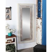 Rustic Fir and Pine Wood Full-Length White Wall Mirror