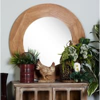 36 inch Contemporary Round Fir Wood Wall Mirror - Brown