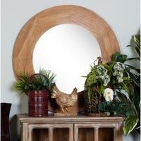 36 inch Contemporary Round Fir Wood Wall Mirror - Blue