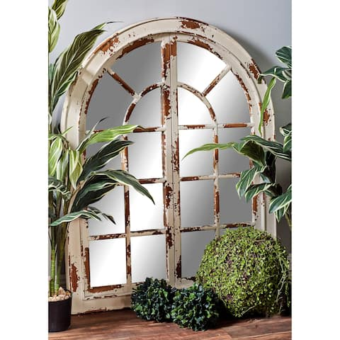 Farmhouse 48 x 37 Inch Classic White Arched Wall Mirror by Studio 350