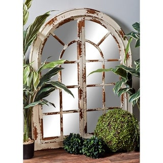 Traditional Wooden Whitewashed Arched Wall Mirror - White