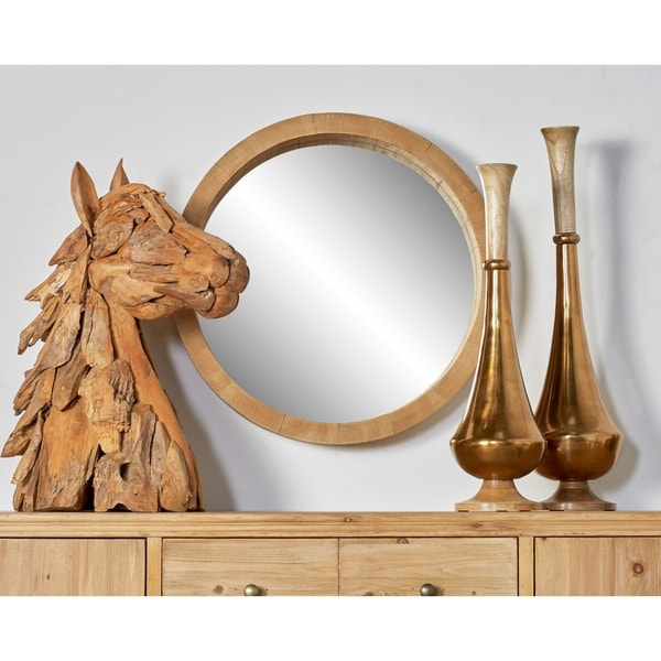 24 Inch Rustic Wooden Round Wall Mirror By Studio 350 Brown