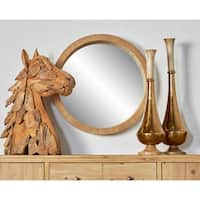 Studio 350 Rustic Brown Wooden 24-inch Round Wall Mirror