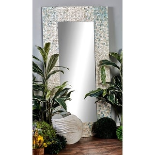 Modern Wood and Mussel Shell-Inlaid Wall Mirror - White/Grey