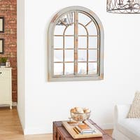 Studio 350 Distressed Brown Wood Arched Wall Mirror