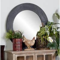 Modern Fir Wood Wall Mirror - Black