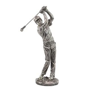 Modern Polystone Silver Swinging Golfer Sculpture