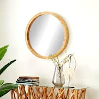 32 inch Rustic Wooden Round Wall Mirror - Brown