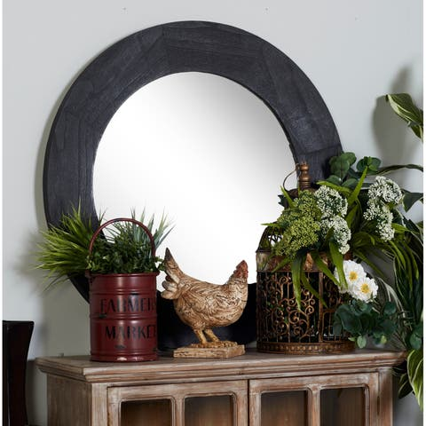 Modern 33 Inch Round Black Wooden Framed Wall Mirror by Studio 350