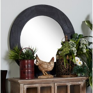 33 inch Contemporary Round Black Fir Wood Wall Mirror