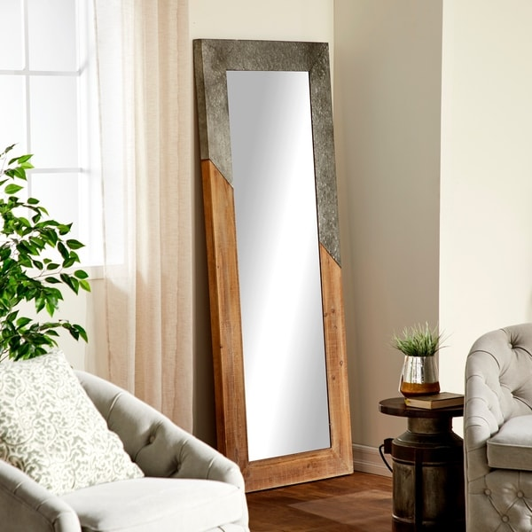 Rustic Wood and Iron Rectangular Framed Full Glass Wall Mirror - Brown/Grey