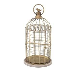 Studio 350 Traditional Gold-finished Iron/Wood Birdcage