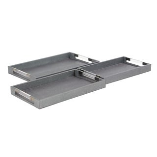 Set of 3 Modern Wooden Trays with Acrylic and Stainless Steel Handles