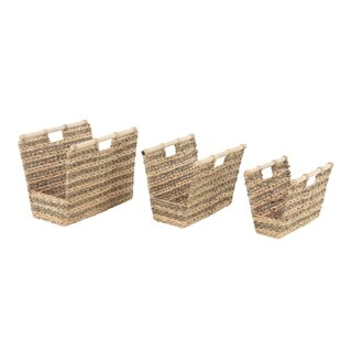 Set of 3 Traditional Hyacinth Rectangular Woven Baskets