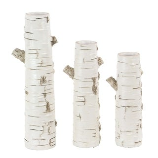 Set of 3 Natural Polystone White Tree Vases