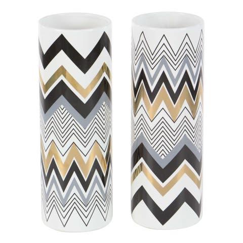 Carson Carrington Hvitsten Zig-zag Vases (Set of 2)