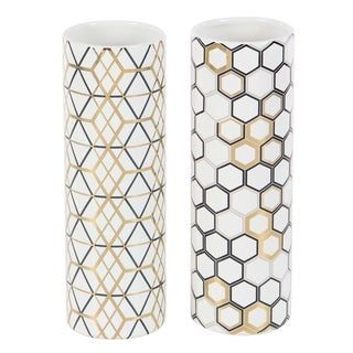Set of 2 Modern Ceramic Honeycomb and Geometric Cylindrical Vases