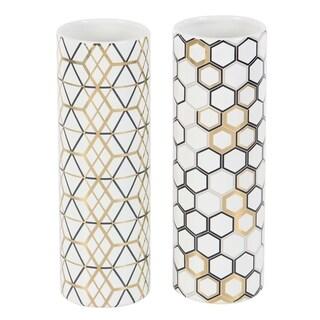 Set of 2 Modern Ceramic Honeycomb and Geometric Cylindrical Vases