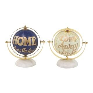 Porch & Den Hernando Set of 2 Modern Aluminum and PVC Gold and Blue Globes