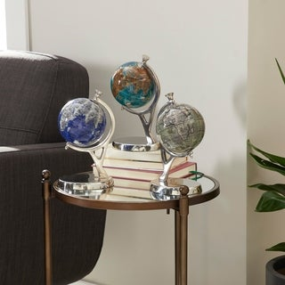 Set of 3 Contemporary Resin Globes with Aluminum Stand