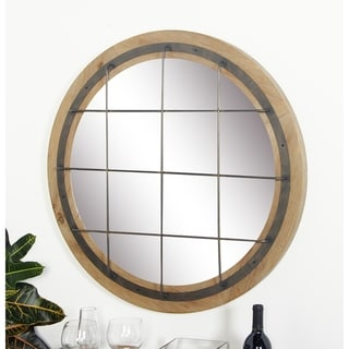 Rustic 32 Inch Round Brown Grid-Patterned Wall Mirror by Studio 350 - Blue