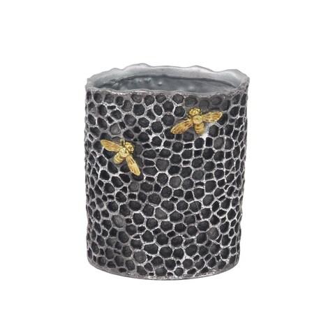 The Gray Barn Jartop Traditional Resin Cylindrical Gray Honeycomb Vase