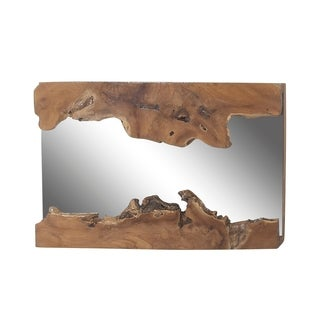 Rustic Teak Wood Rectangular Wall Mirror - Brown